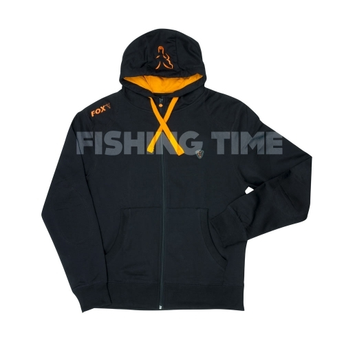 Fox Black / Orange lightweight zipped hoodie