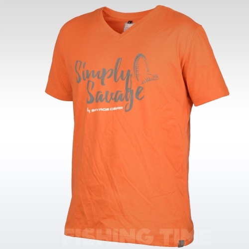 Savage Gear Simply Savage V-neck Tee Orange póló