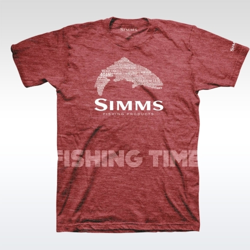 Simms Stacked Typo Logo Red Heather póló