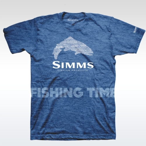 Simms Stacked Typo Logo Royal Heather póló