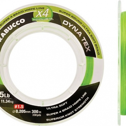 Trabucco Dyna-tex X4 Power Lime Yellow 150m 0,063, Fonott Zsinór