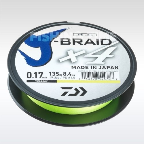 Daiwa J-Braid X4 Yellow 135m fonott zsinór